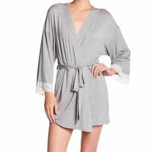 Honeydew Intimates HEATHER GREY Lace Trim Robe